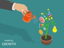 Financieel de groei vlak isometrisch vectorconcept Royalty-vrije Stock Foto's