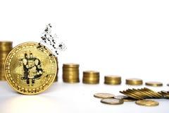 Financieel de groeiconcept met Bitcoins-ladder op witte achtergrond, virtueel geld stock afbeeldingen