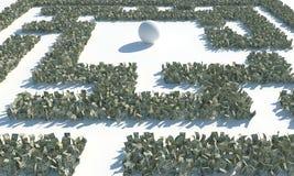 Financieel die Maze Labyrinth van usd bankbiljetten wordt gemaakt Royalty-vrije Stock Foto