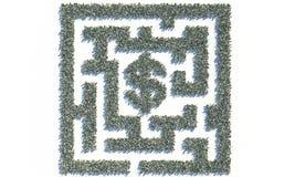 Financieel die Maze Labyrinth van usd bankbiljetten wordt gemaakt Royalty-vrije Stock Afbeelding