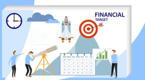 Financieel doel Beroepsplan, werkplaats voor teamsamenwerking De ladder van de carri?re Succes in het werk, de groei in carrière stock illustratie