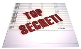Financieel dossier met rode bovenkant - geheim! zegel Stock Foto