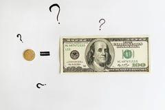 Financieel en economisch nieuws Één Russische Roebel evenaart Honderd Amerikaanse Dollars Stock Foto
