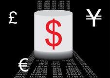 Financieel gegevens en muntSi Royalty-vrije Stock Foto