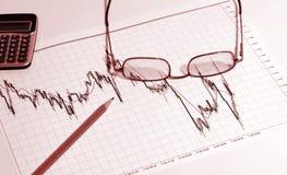 Financieel grafiek en potlood Royalty-vrije Stock Afbeeldingen