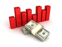 Financieel grafiekdiagram met honderd dollarspakken Stock Foto