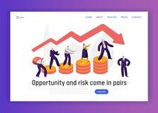 Financieel het Conceptenlandingspagina Risico van de Bedrijfskaraktergrafiek Zakenman Walk op de Banner van de Muntstukinvesterin stock illustratie