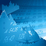 Financieel neerstortingsblauw Stock Foto
