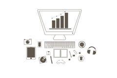 Financieel overzicht en technologiepictogram op witte achtergrond wordt geplaatst die Vector illustratie Stock Afbeelding