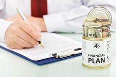 Financieel planconcept met dollars Royalty-vrije Stock Afbeeldingen