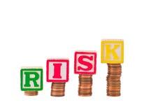 Financieel R I S K en Pence Stock Afbeeldingen