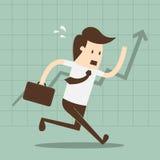 Financieel succes, lopende mens met een aktentas, lijngrafiek Stock Afbeeldingen