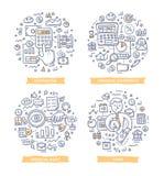 Financieel verslag & Boekhoudingskrabbelillustraties royalty-vrije illustratie