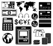 Financier, ensemble de banque d'icônes Photographie stock