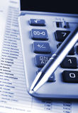 Financier tools. In blue shade stock photo