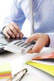 Financier working at bank Stock Photo