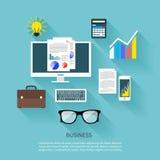 Financier workplace flat design concept Stock Image