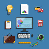 Financier workplace flat design concept Royalty Free Stock Images