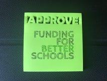 Financiering voor betere scholen stock afbeelding