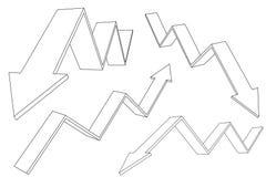 Financiero arriba y abajo de flechas móviles Tendencias de levantamiento y descendentes ilustración del vector