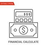 Financiero calcule el icono Línea fina ejemplo del vector ilustración del vector