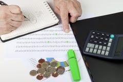 Financiero que se refiere a una hoja de cálculo con una calculadora Imagen de archivo libre de regalías