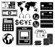 Financiero, sistema del banco de iconos Fotografía de archivo