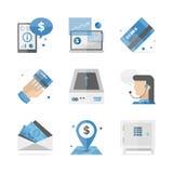 Financiero y depositando los iconos planos fijados Fotos de archivo libres de regalías