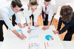 Financiële adviseurs in bank die gegevens analyseren Stock Fotografie