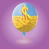 Financiën binnen Blue Air-Ballon Royalty-vrije Stock Afbeeldingen