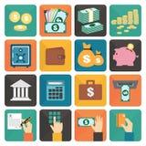 Financiën en het pictogramreeks van het geld vlakke ontwerp Royalty-vrije Stock Fotografie