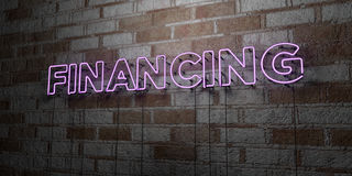 FINANCING - Glowing Neon Sign on stonework wall - 3D rendered royalty free stock illustration Royalty Free Stock Photography