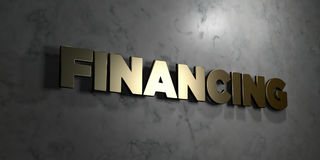 Financing - Gold sign mounted on glossy marble wall  - 3D rendered royalty free stock illustration. This image can be used for an online website banner ad or a Stock Photo
