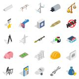 Financing icons set, isometric style. Financing icons set. Isometric set of 25 financing vector icons for web isolated on white background Royalty Free Stock Image
