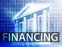 Financing illustration. Financial diagram with bank building Royalty Free Stock Photography
