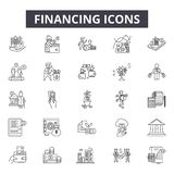 Financing line icons for web and mobile design. Editable stroke signs. Financing  outline concept illustrations. Financing line icons for web and mobile royalty free illustration