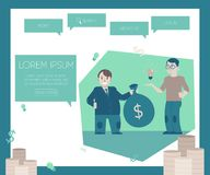 Financing new projects and startups concept on website page template. Flat cartoon male banker or investor gives money bag with dollars to young guy with Stock Photography