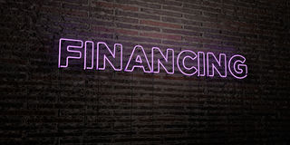 FINANCING -Realistic Neon Sign on Brick Wall background - 3D rendered royalty free stock image Stock Photography