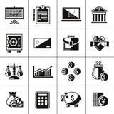 Financiënpictogrammen geplaatst zwart Royalty-vrije Stock Afbeeldingen
