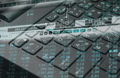 Finane data on keyboard computer and graph business concept Stock Photography