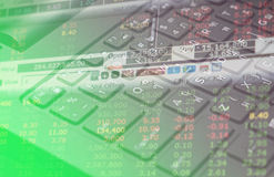 Finane data on keyboard computer and graph business concept Stock Image