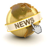 Finanical news concept, 3d render. Globe formed by dollar signs and the word news, 3d render, white background Stock Images