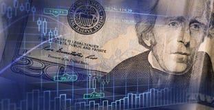 Finans-, affärs- och bankrörelsebegrepp Dubbel exponering av pengar, royaltyfri foto