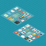 Finans och isometriska symboler 3d för samkvämmassmedia royaltyfri illustrationer