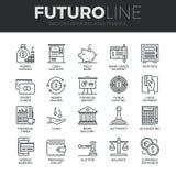 Finans och packa ihop den Futuro linjen symbolsuppsättning Arkivbilder