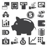 Finans och pengarsymbolsuppsättning. Royaltyfria Bilder