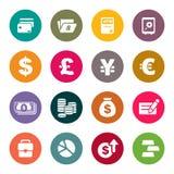 Finans och uppsättning för pengartemasymboler royaltyfri illustrationer