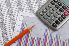 Finansaffärsberäkning arkivbild