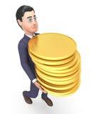 Finansaffärsman Represents Coins Money och tolkning för framgång 3d vektor illustrationer