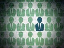 Finansbegrepp: blå symbol för affärsman på Digital Arkivfoto